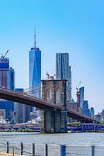Brooklyn Bridge With Lower Manhattan Skyline, One World Trade Center In New York City.