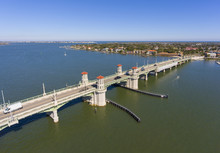 Bridge Of Lions Aerial View Over Matanzas River In St. Augustine, Florida, USA.
