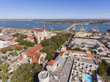 St. Augustine City Aerial View Including Plaza De La Constitucion, Cathedral Basilica Of St. Augustine And Governor House, St. Augustine, Florida, USA.