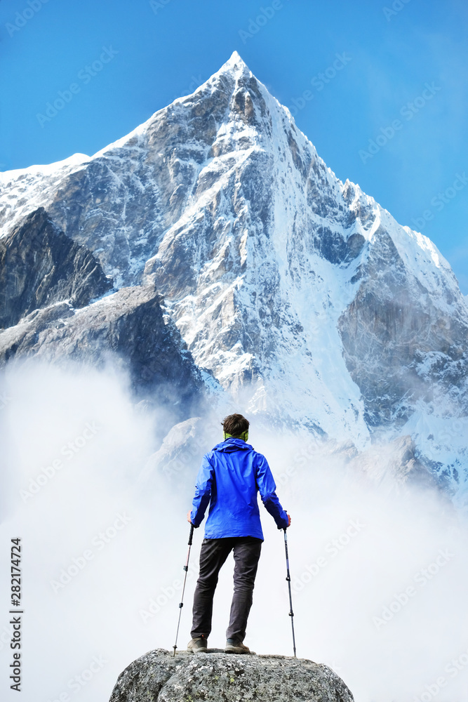 Fototapety, obrazy: Hiking in himalaya mountains. Travele hiking in the mountains, Nepal. Everest region.