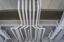 Clean Line White Water Pipes Watering System Pipe Engineer Design In Underground Condominium.