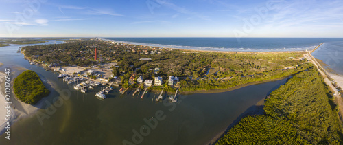Ponce de Leon Inlet Lighthouse is a National Historic Landmark panorama in town of Ponce Inlet in Central Florida, USA Wallpaper Mural