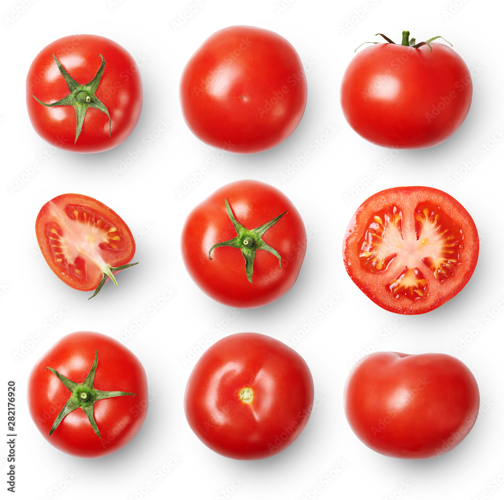 Fototapety, obrazy: A set of ripe tomatoes whole and sliced isolated on white background. Top view.