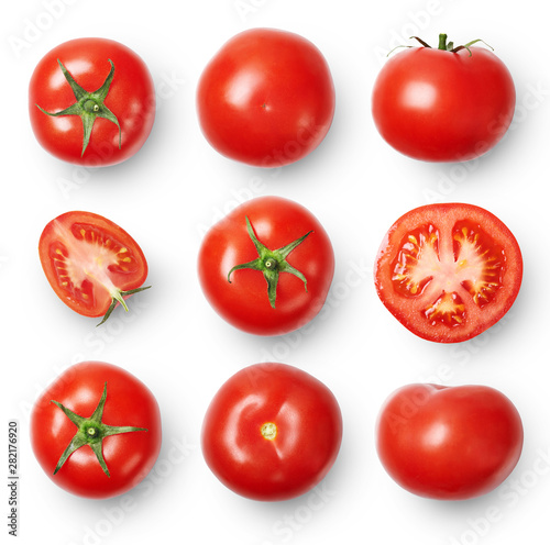 Fototapeta A set of ripe tomatoes whole and sliced isolated on white background. Top view. obraz