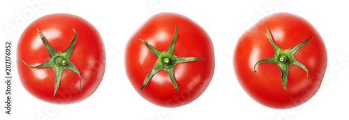 Poster de jardin Légumes frais A set of red, ripe, fresh tomatoes isolated on white background. Top view.