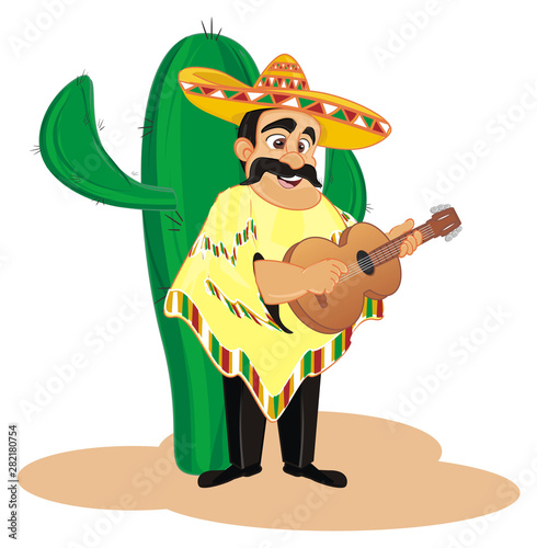 Cadres-photo bureau Pirates large cactus and singing mexican