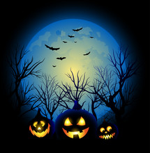 Vector Halloween Background Full Moon And Jack O Lantern