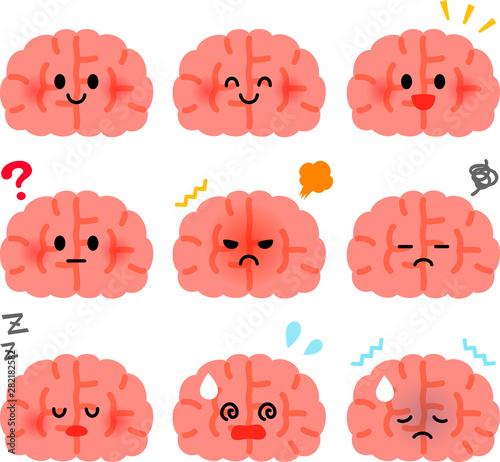 Valokuva かわいい脳のキャラクターのイラストセット