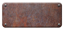 Rusty Steel Plate, Metal Signboard With Rivets On White Background