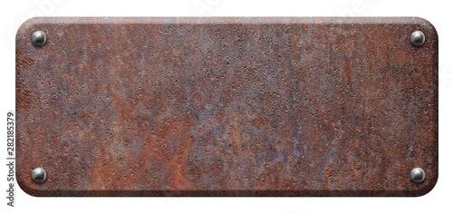 Cuadros en Lienzo Rusty steel plate, metal signboard with rivets on white background