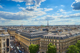 Fototapeta Fototapety Paryż - View over Paris with Opéra and Eiffel Tower / Taken from the Rooftop Balkony of the famous shopping centre Galeries Lafayette