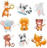 Fototapeta Fototapety na ścianę do pokoju dziecięcego - Set of cute animals musicians. Vector illustration on white background.