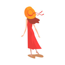 Girl In Red Dress And Straw Hat, View From Behind Vector Illustration