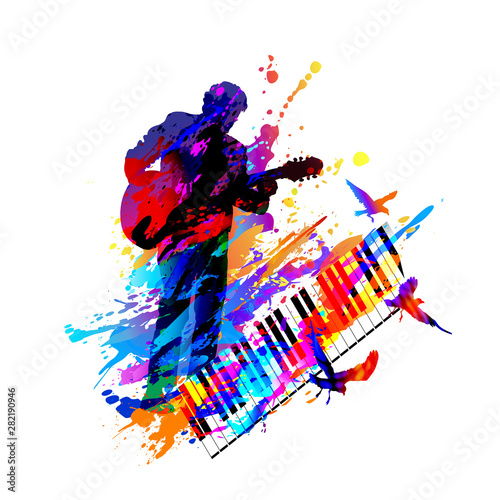 Guitar player. Music festival. Vector illustration Tablou Canvas