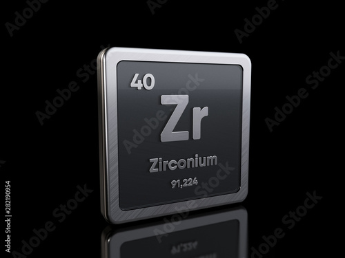Fényképezés  Zirconium Zr, element symbol from periodic table series