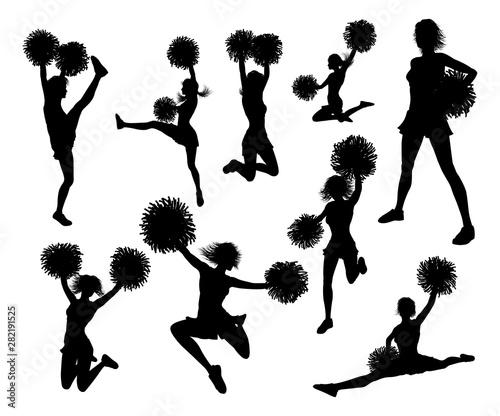 Fotografía  Detailed silhouette cheerleaders holding pompoms