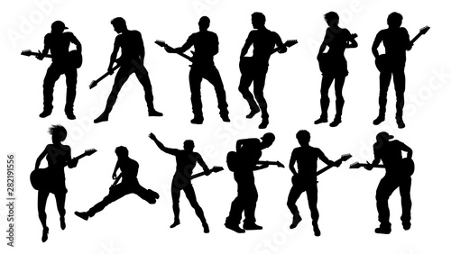 A set of guitarist musicians in detailed silhouette playing their guitars Fototapet
