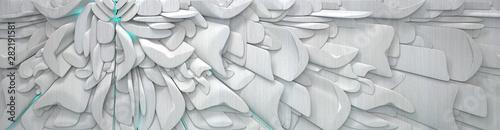 Fototapeta Wide Metal Futuristic Background (3D Illustration) obraz