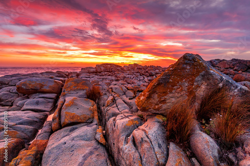 Canvas Prints Crimson Rich red sunrise over the rocky coast Australia
