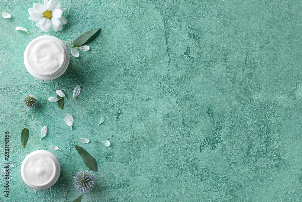 Fototapety, obrazy: Body cream in jars on color background