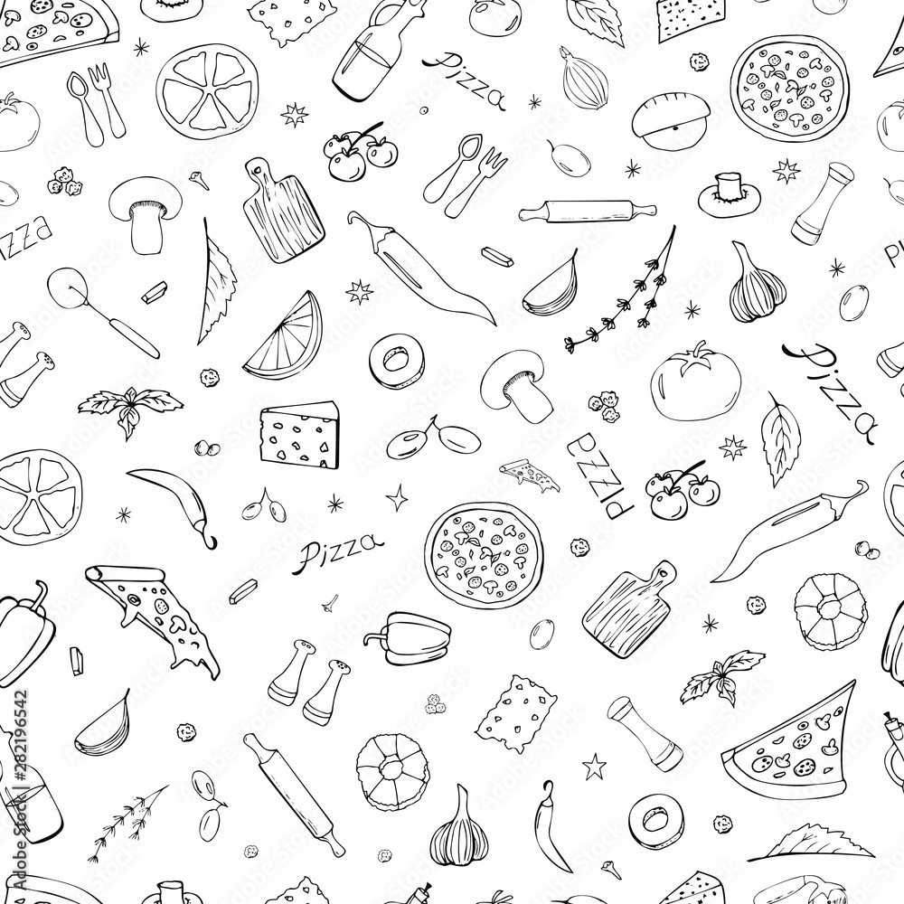 Fototapety, obrazy: Vector background with breakfast, lunch, pizza, snacks. Useful for packaging, menu design and interior decoration. Hand drawn doodles. Seamless pattern of food elements on a white background.