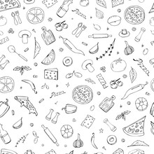 Vector Background With Breakfast, Lunch, Pizza, Snacks. Useful For Packaging, Menu Design And Interior Decoration. Hand Drawn Doodles. Seamless Pattern Of Food Elements On A White Background.
