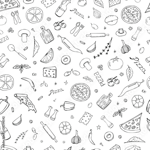 vector-background-with-breakfast-lunch-pizza-snacks-useful-for-packaging-menu-design-and-interior-decoration-hand-drawn-doodles-seamless-pattern-of-food-elements-on-a-white-background