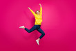 canvas print picture - Full length photo of crazy lady jumping high excited by first place winning wear casual outfit isolated pink background