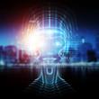 Leinwandbild Motiv Robot cyborg head artificial intelligence learning 3D rendering