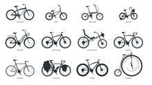 Bicycle Types Silhouette Illus...