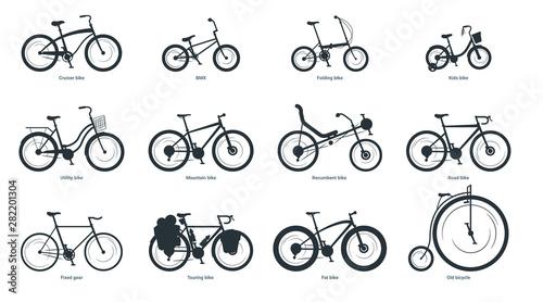 Photo Bicycle types silhouette illustration set