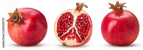 Obraz na plátně Set pomegranate whole, cut in half
