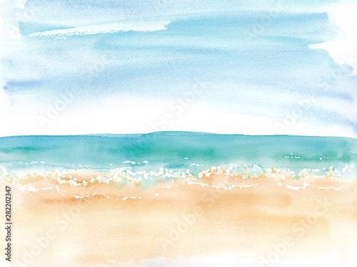 ビーチと水平線とラフな空、水彩イラスト