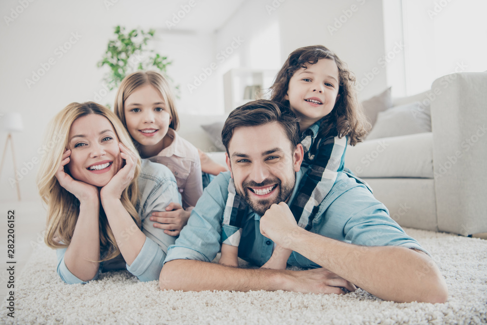 Fototapety, obrazy: Photo of four members adopted family lying floor toothy smiling fluffy carpet cozy apartments