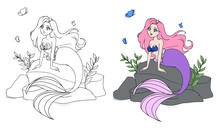 Cute Mermaid With Pink Hair An...