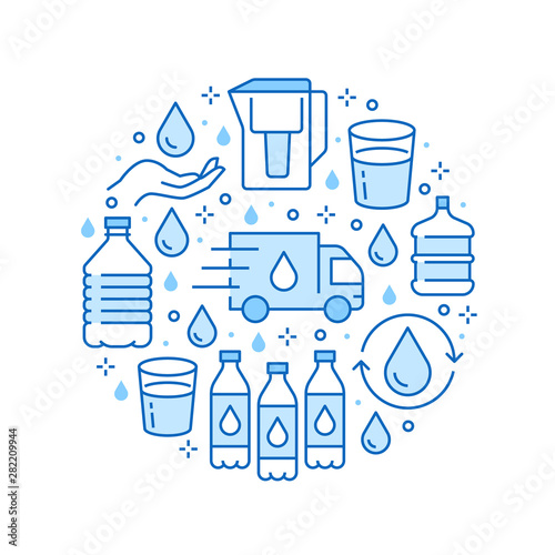 Fényképezés  Pure water vector circle banner with flat line icons