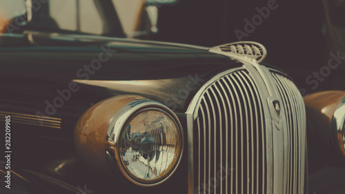 Obraz Retro car show background. Classic car's details close-up - fototapety do salonu