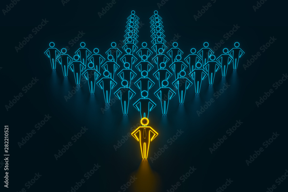 Fototapeta Concept leader of the business team indicates the direction of the movement towards the goal. Crowd of blue men goes for the leader of the gold color. 3D rendering