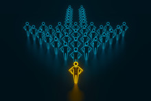 Concept Leader Of The Business Team Indicates The Direction Of The Movement Towards The Goal. Crowd Of Blue Men Goes For The Leader Of The Gold Color. 3D Rendering