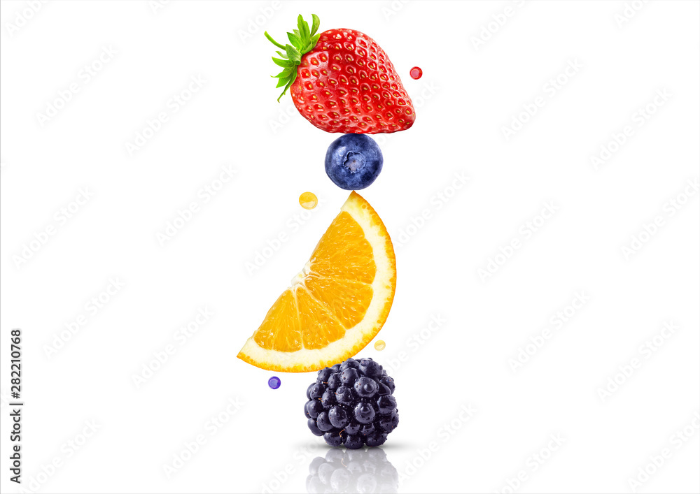 A stack of fresh ripe summer fruits and berries isolated on white background. Blackberry, orange, blueberry, strawberry fruit stack in a row. Healthy life, balanced diet composition design concept <span>plik: #282210768 | autor: Corona Borealis</span>