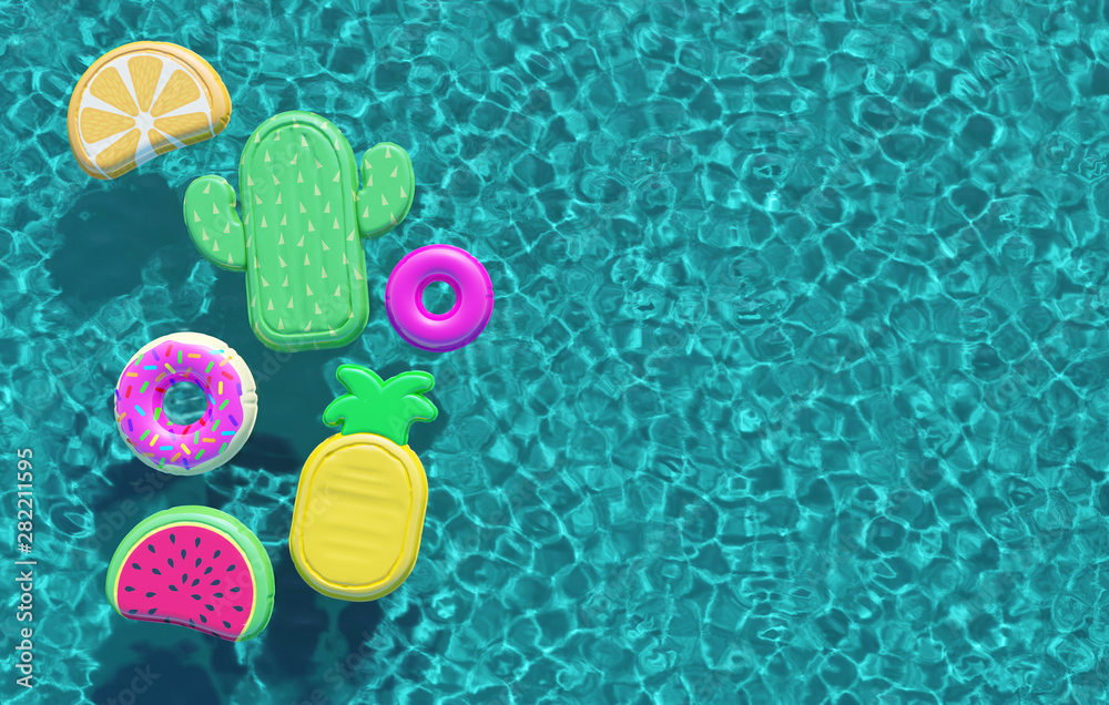 Fototapeta Summer swimming pool full of fun pool floats. Overhead view. 3D Rendering