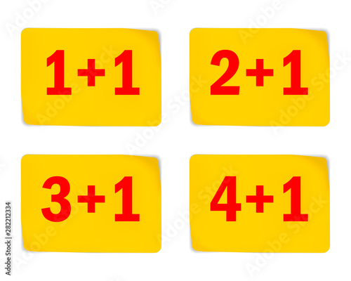 Yellow stickers for special offer design, vector illustration. Buy 1 (2, 3, 4) get 1 free