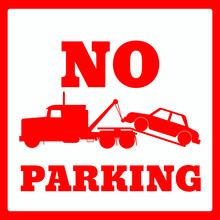 No Parking Sign Icon Towing Truck For Design Eps 10 Vector