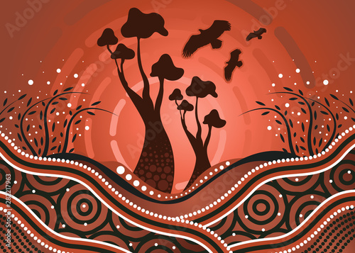 Photo Tree on the hill, An illustration based on aboriginal style of background depicting nature