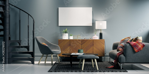 Sofa and sideboard in minimalistic apartment Tablou Canvas