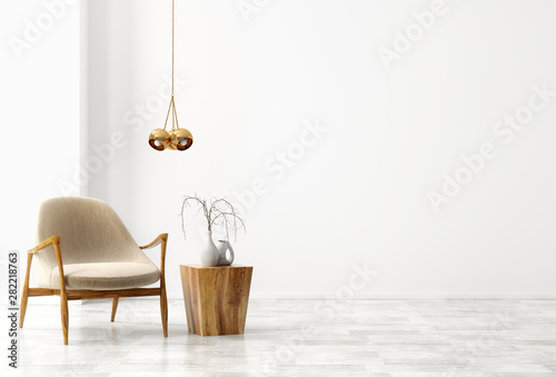 Canvas Prints Height scale Interior background of living room with beige armchair and wooden coffee table 3d rendering