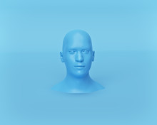 Minimal Mannequin Head Isolated On Pastel Blue Background. 3d Rendering