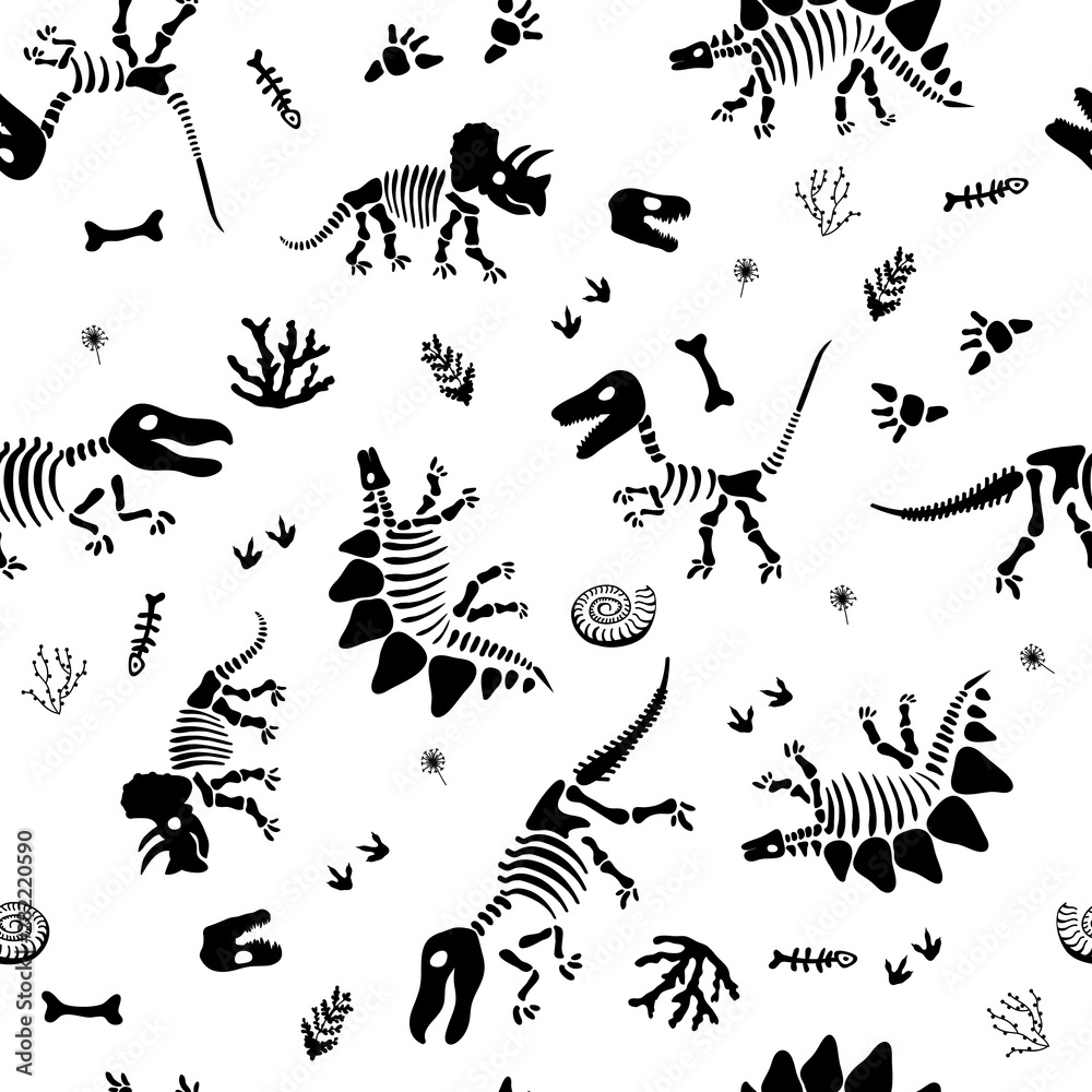 Seamless funny pattern with bone dinosaur for kids