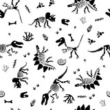 Fototapeta Dinusie - Seamless funny pattern with bone dinosaur for kids