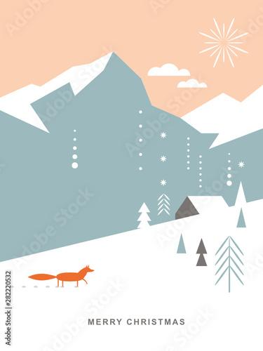 Plakat w ramce 40x30 cm Christmas card . Postcard. Stylized Christmas fox, mountains, snowflakes, Christmas trees, landscape, simple minimalistic scandinavian style
